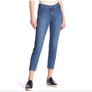 NEW • L'AGENCE • Blue Slim Leopard Print Jeans